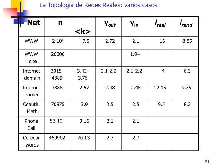 La Topología de Redes Reales: varios casos