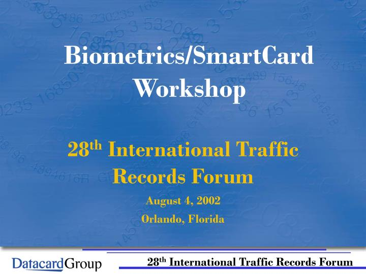 Biometrics smartcard workshop