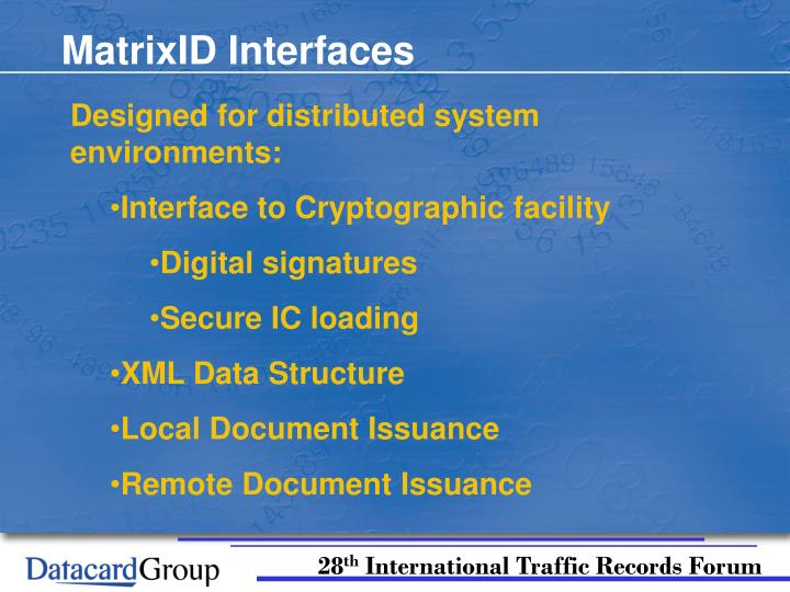 MatrixID Interfaces