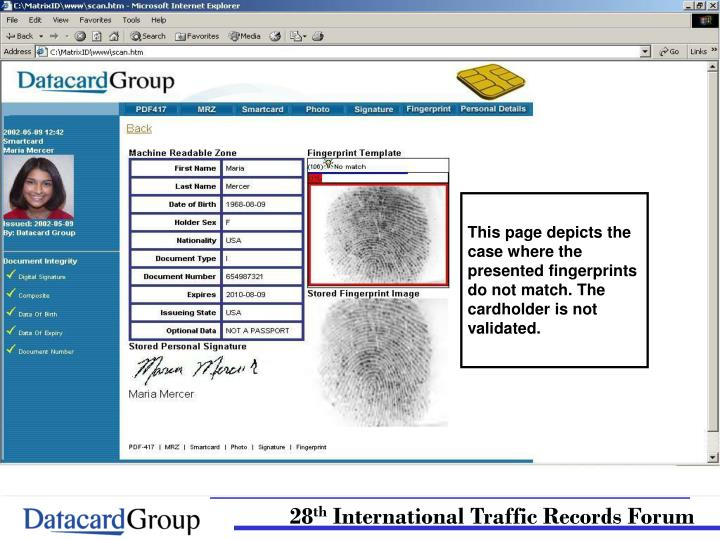 This page depicts the case where the presented fingerprints do not match. The cardholder is not validated.