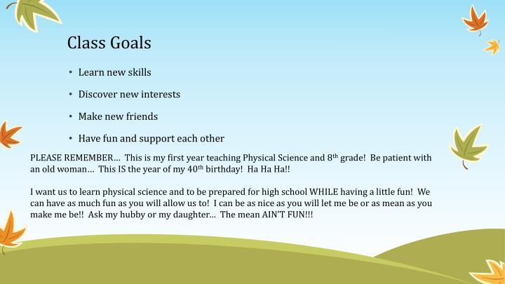 Class Goals