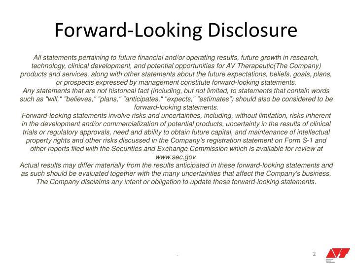 Forward-Looking Disclosure