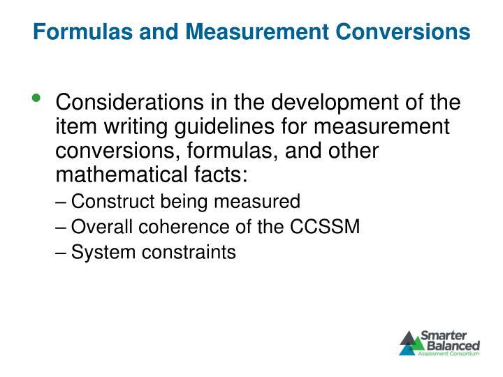 Formulas and Measurement Conversions
