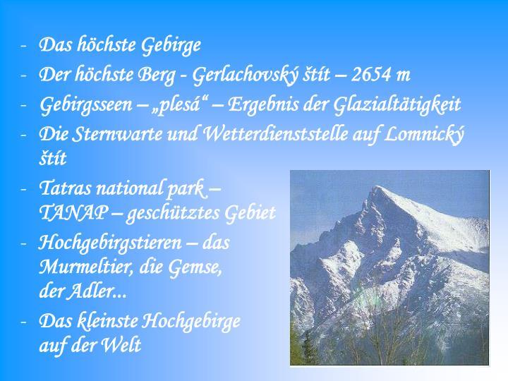 Das höchste Gebirge