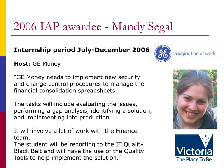 2006 IAP awardee - Mandy Segal