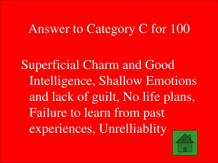 Answer to Category C for 100