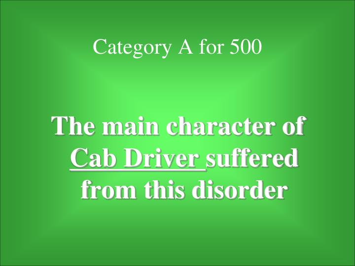 Category A for 500