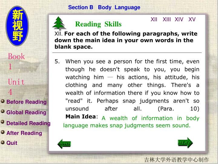 Section B   Body  Language