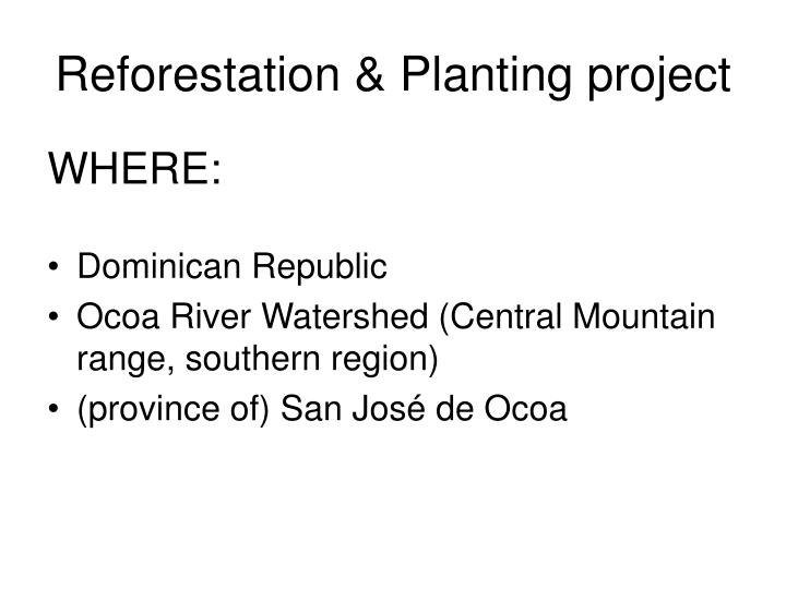 Reforestation planting project