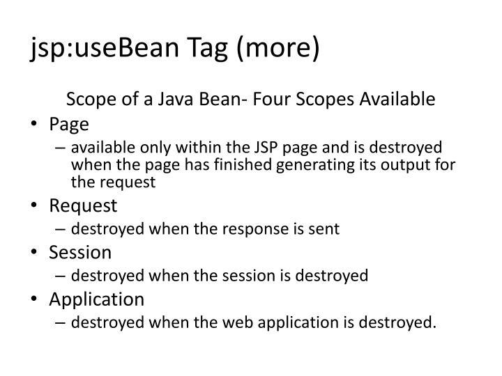 jsp:useBean Tag (more)
