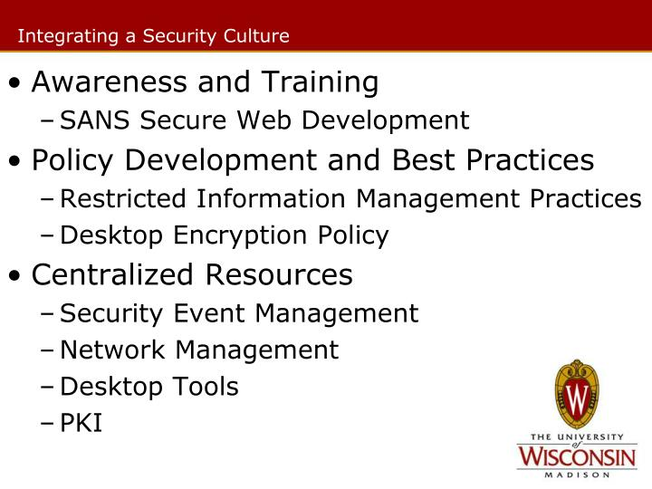 Integrating a Security Culture