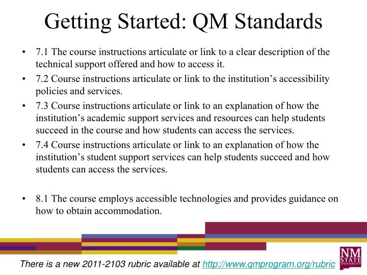 Getting Started: QM Standards