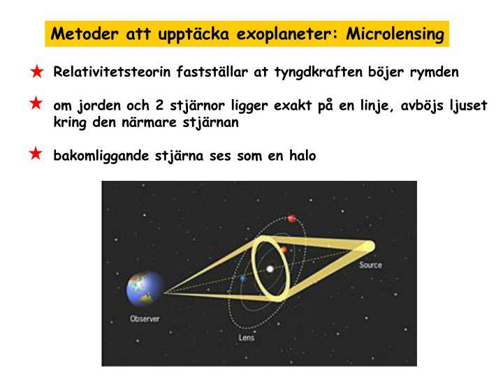 Metoder att upptäcka exoplaneter: Microlensing