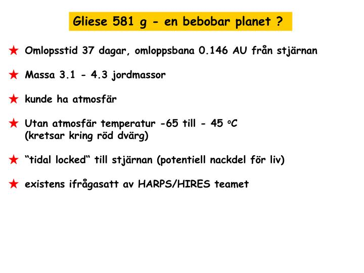 Gliese 581 g - en bebobar planet ?
