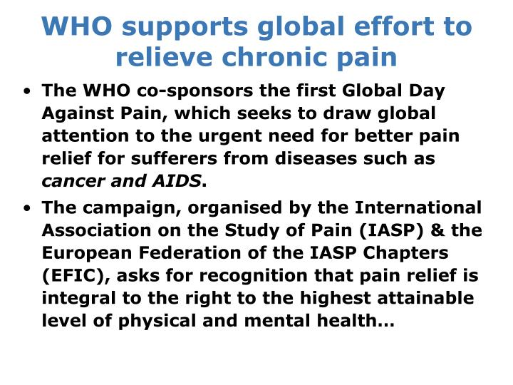 WHO supports global effort to relieve chronic pain