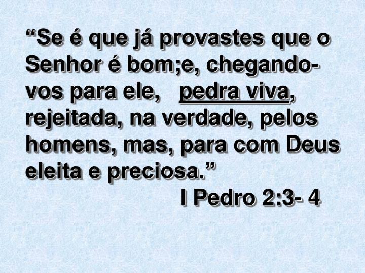 """""""Se é que já provastes que o Senhor é bom;e, chegando-vos para ele,"""