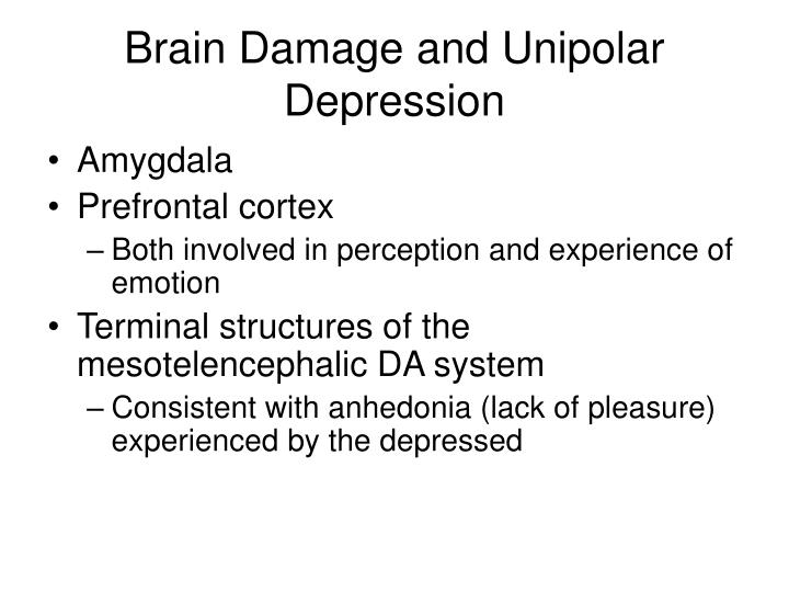 Brain Damage and Unipolar Depression