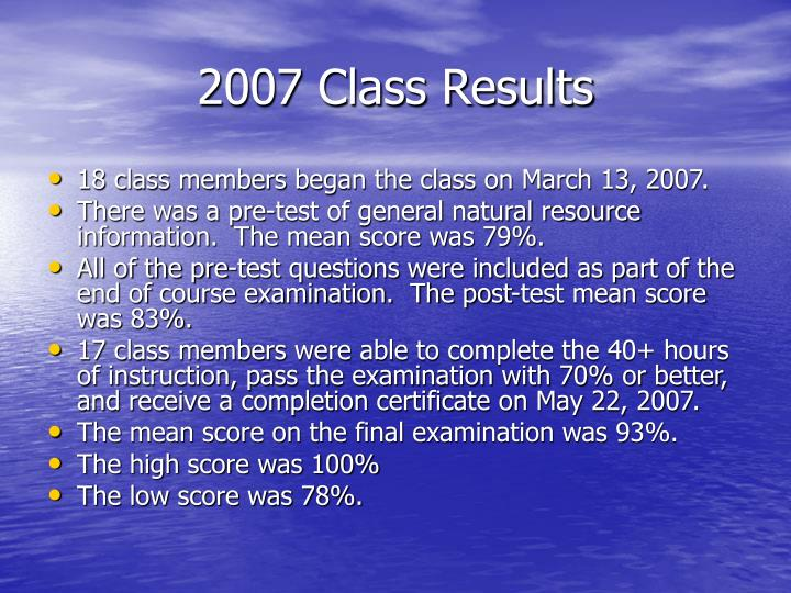 2007 Class Results