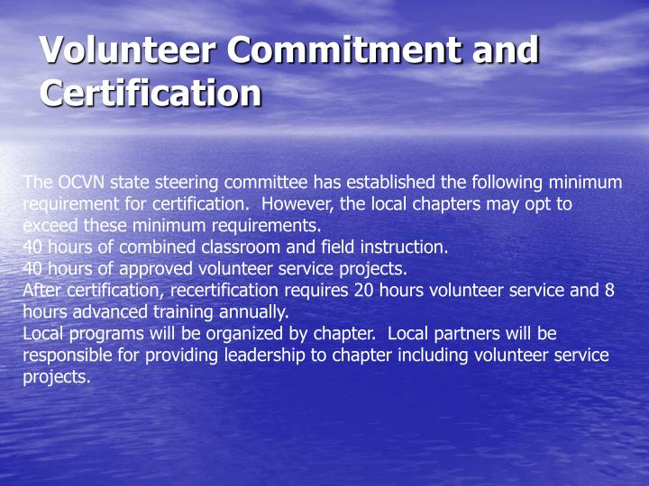 Volunteer Commitment and Certification