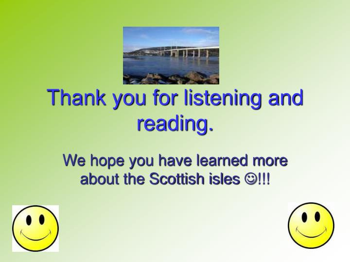 Thank you for listening and reading.