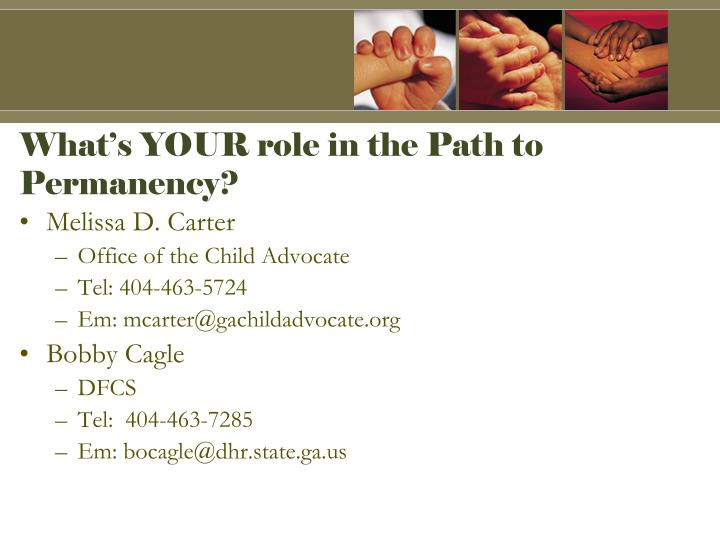 What's YOUR role in the Path to Permanency?