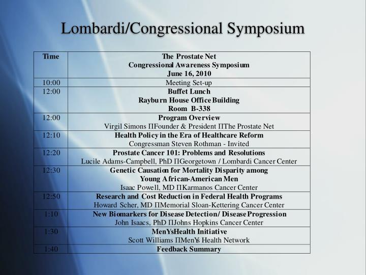Lombardi/Congressional Symposium