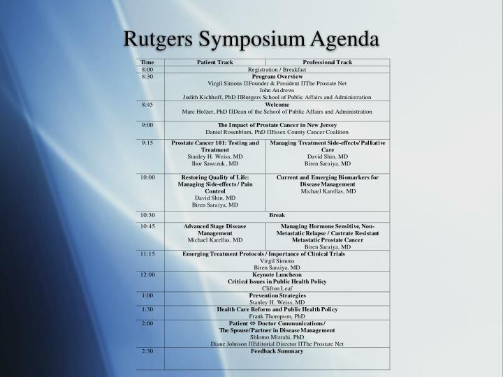 Rutgers Symposium Agenda