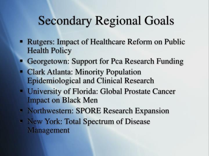 Secondary Regional Goals