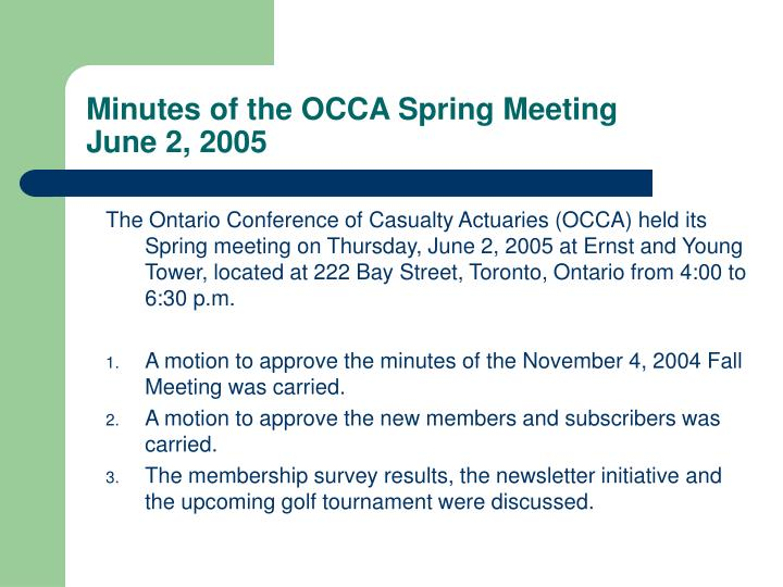 Minutes of the occa spring meeting june 2 2005
