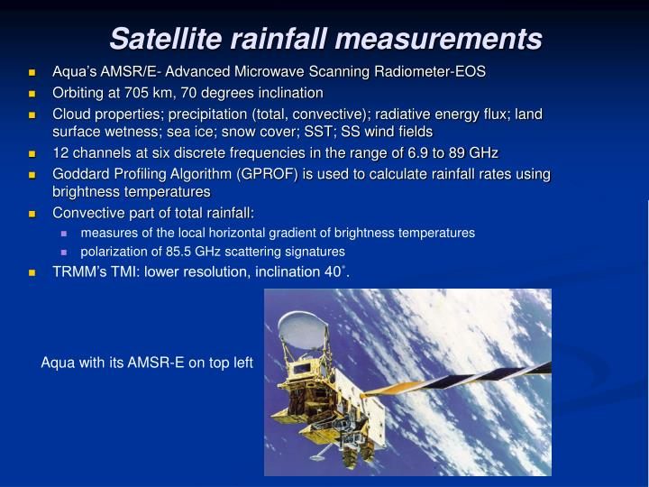 Satellite rainfall measurements