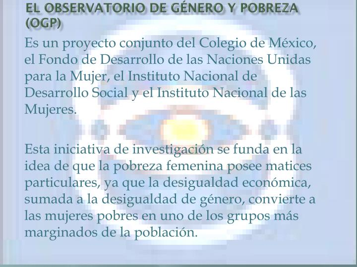 El Observatorio de Género y Pobreza (OGP)