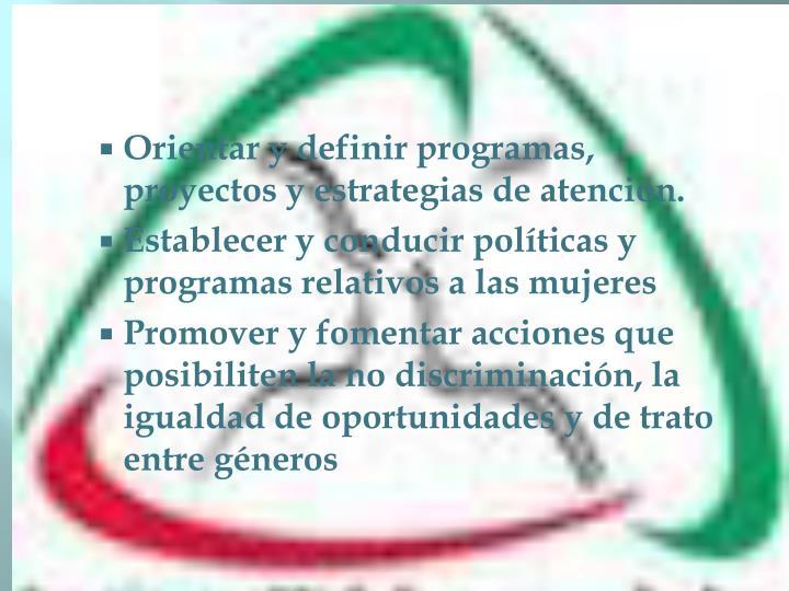 Orientar y definir programas, proyectos y estrategias de