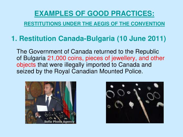 1. Restitution Canada-Bulgaria (10 June 2011)