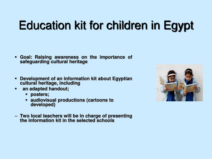 Education kit for children in Egypt