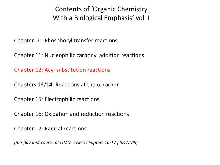 Contents of 'Organic Chemistry