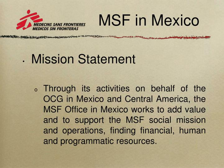 Msf in mexico