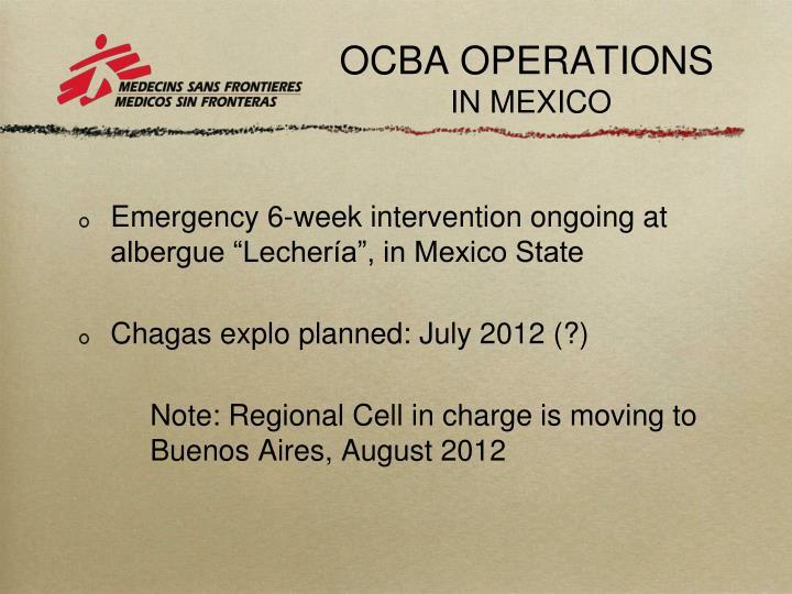 OCBA OPERATIONS