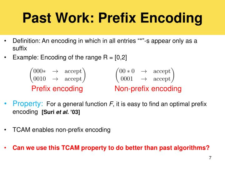 Past Work: Prefix Encoding