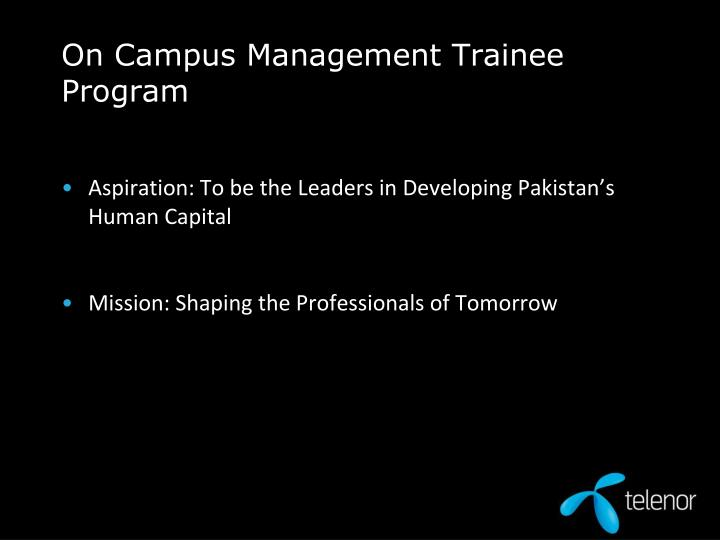 On campus management trainee program