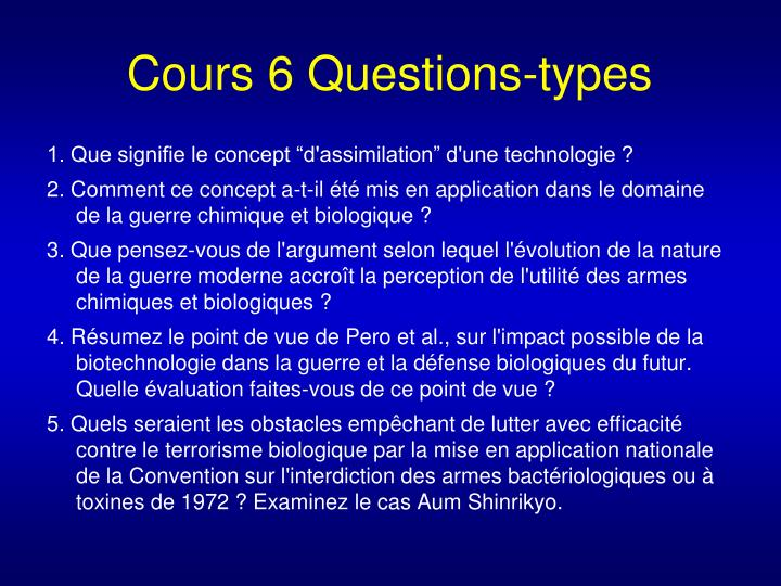 Cours 6 Questions-types