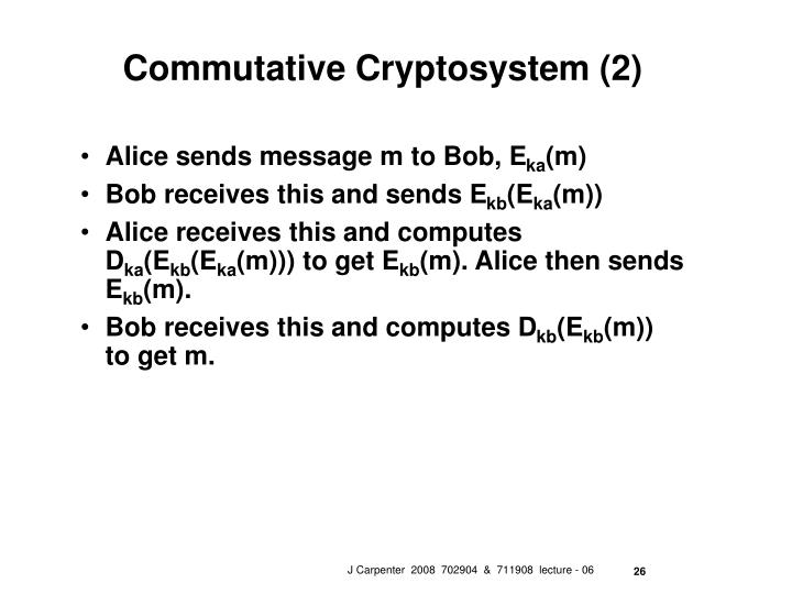 Commutative Cryptosystem (2)