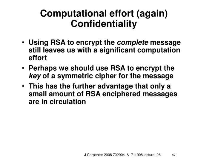 Computational effort (again)