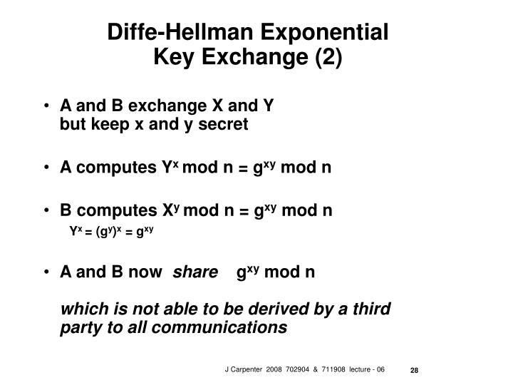 Diffe-Hellman Exponential