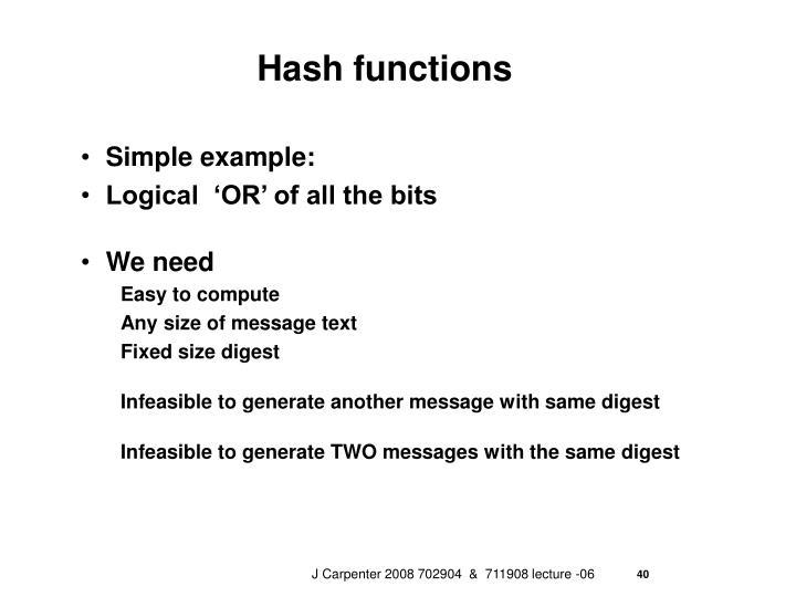 Hash functions