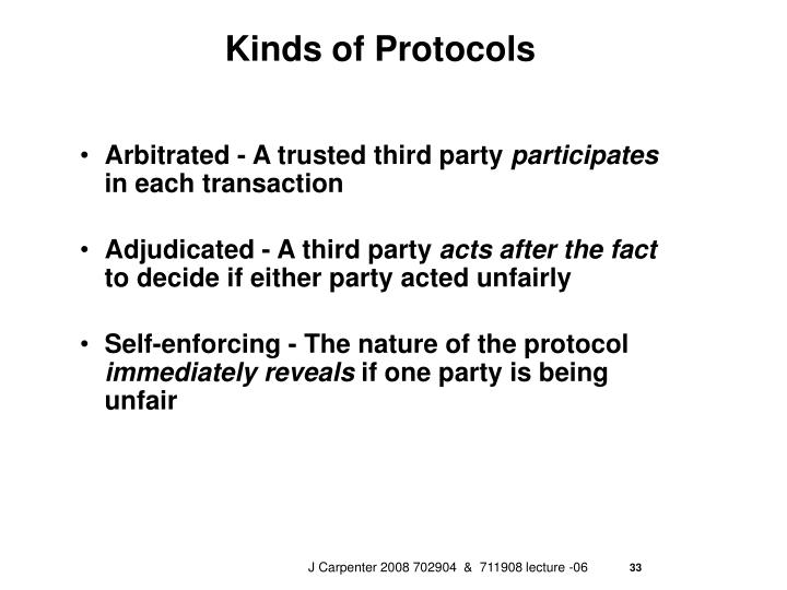 Kinds of Protocols