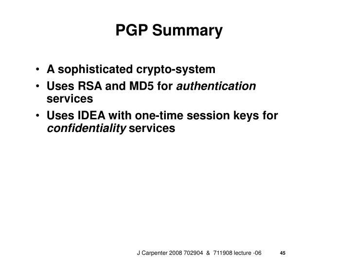 PGP Summary