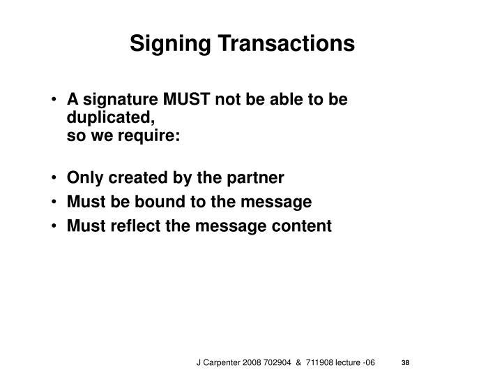 Signing Transactions