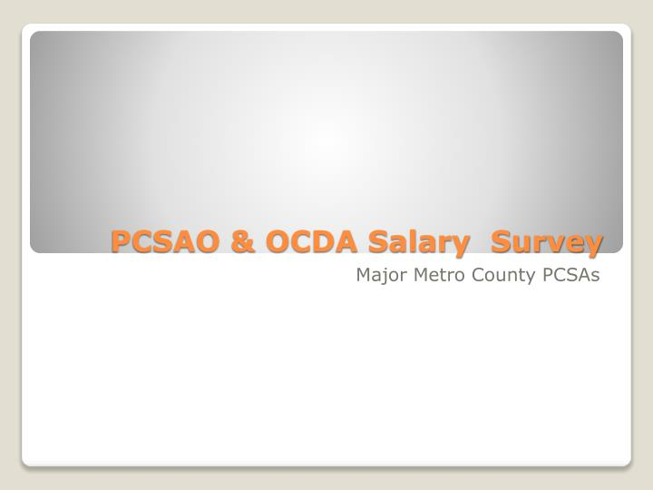 Pcsao ocda salary survey