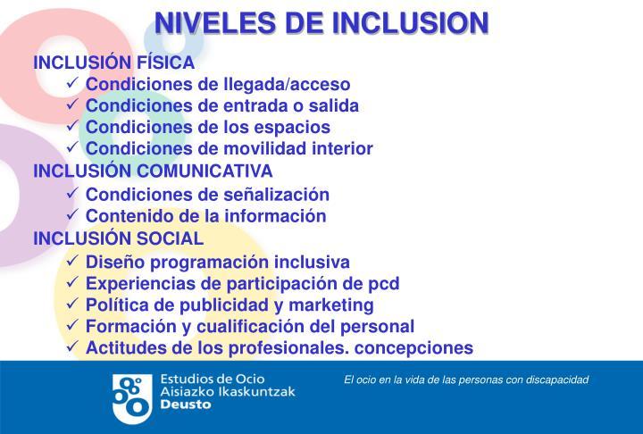 NIVELES DE INCLUSION
