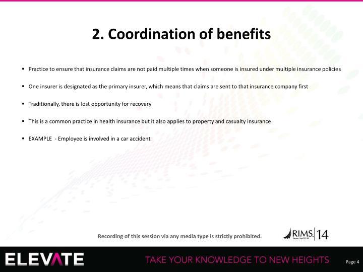 2. Coordination of benefits